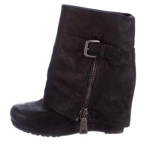 Prada Black leather fold-over wedge boots.